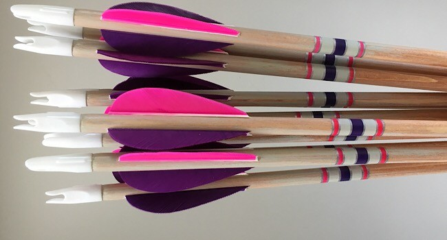 A dozen cheap crested 3D arrows